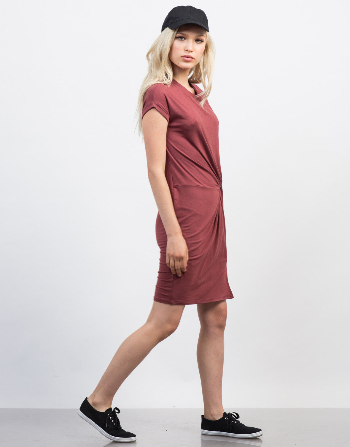 Side View of Knotted Tee Dress