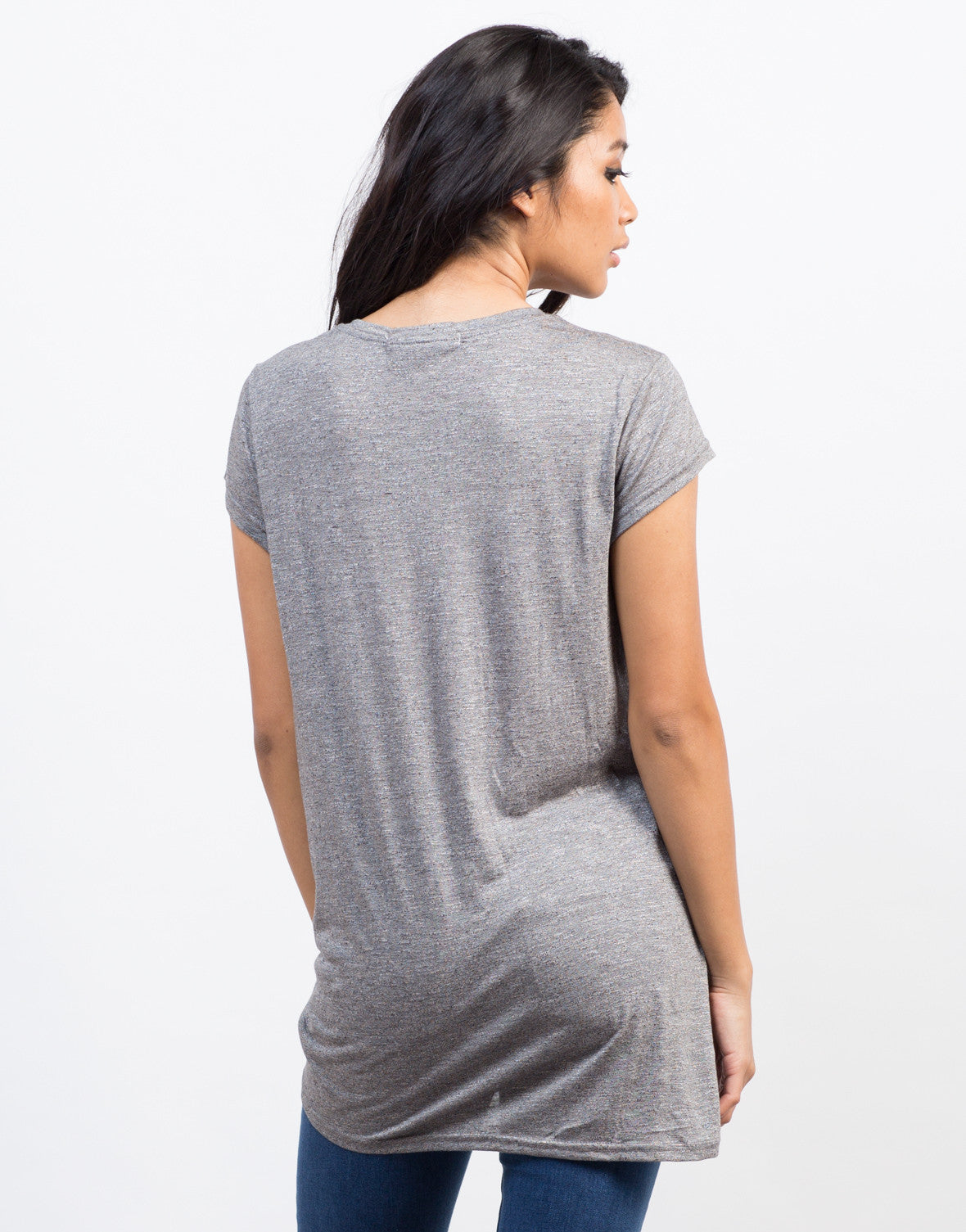 Back View of Knotted Tunic Tee