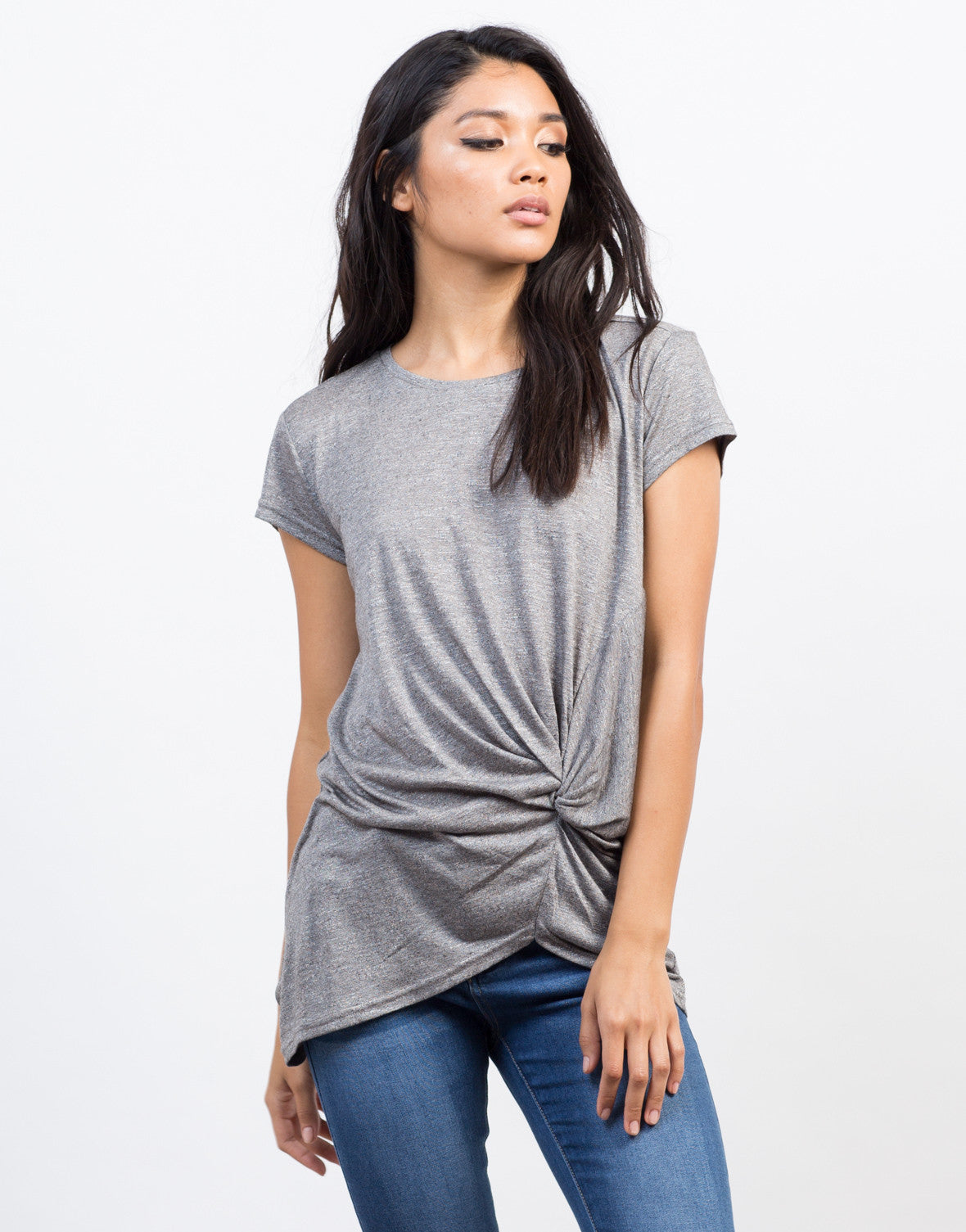 Front View of Knotted Tunic Tee