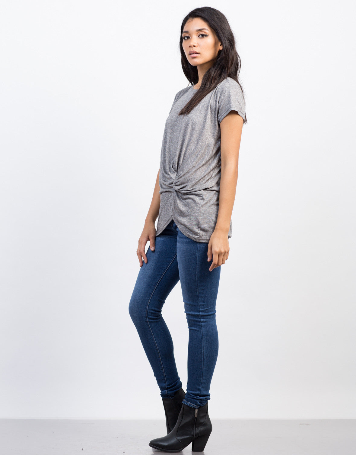 Side View of Knotted Tunic Tee