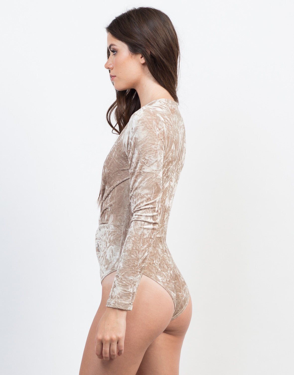 Back View of Knotted Velvet Bodysuit