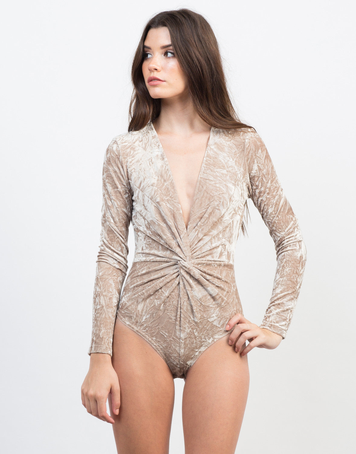 Front View of Knotted Velvet Bodysuit
