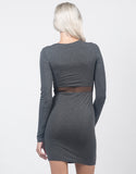 Back View of Knotted Mesh Cut Out Dress