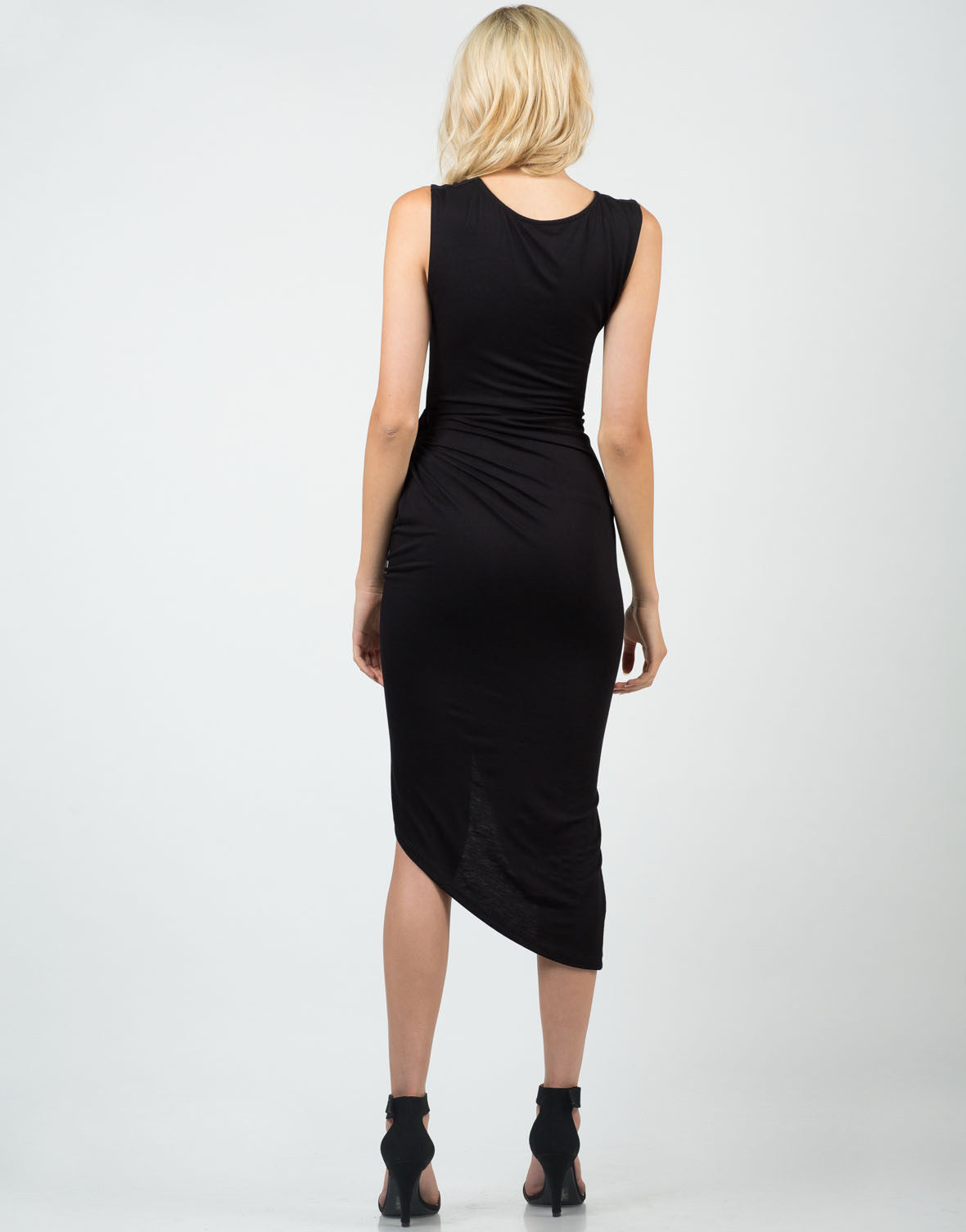 Back View of Knotted Wrap Midi Dress