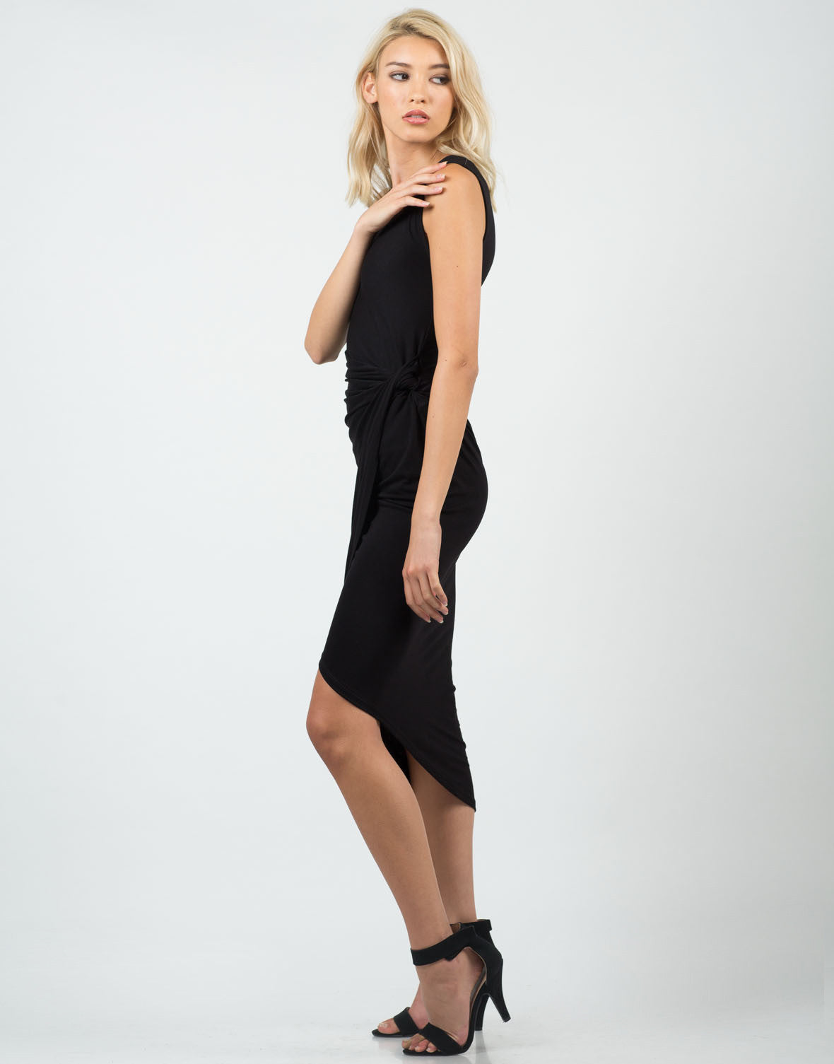 Side View of Knotted Wrap Midi Dress