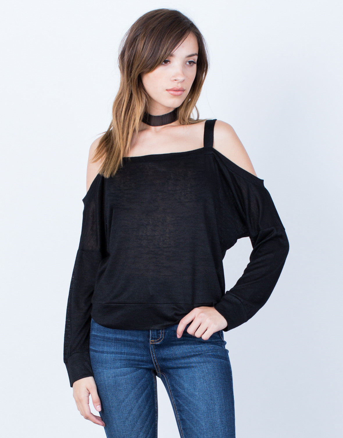 Front View of L/S Cold Shoulder Top