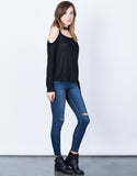 Side View of L/S Cold Shoulder Top
