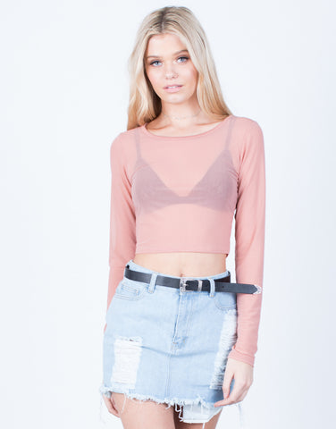 Front View of L/S Mesh Crop Top