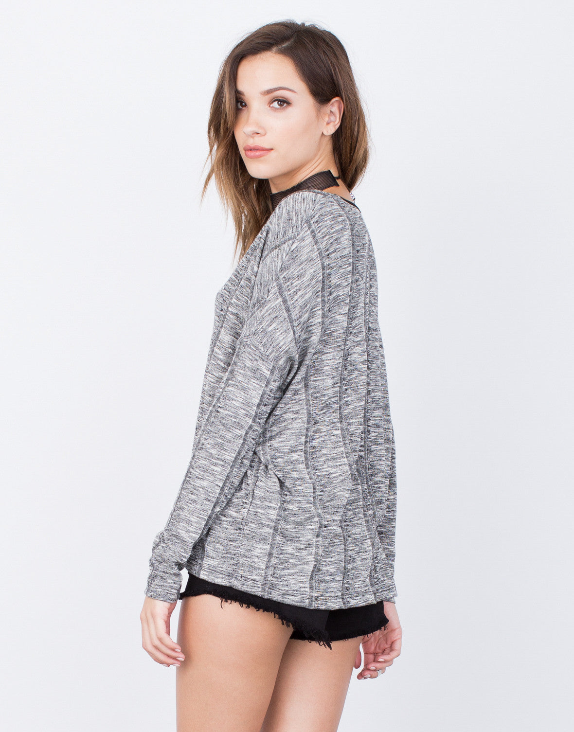 Back View of L/S Rib Knit Top