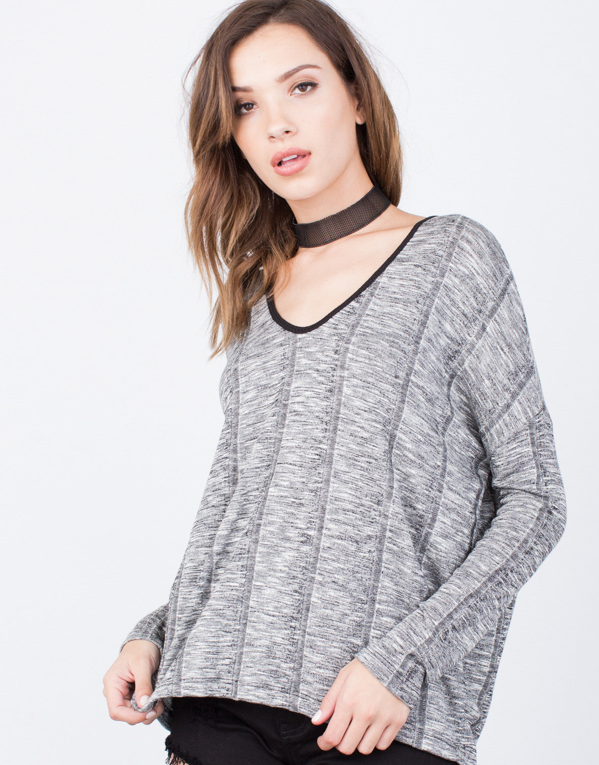 Detail of L/S Rib Knit Top
