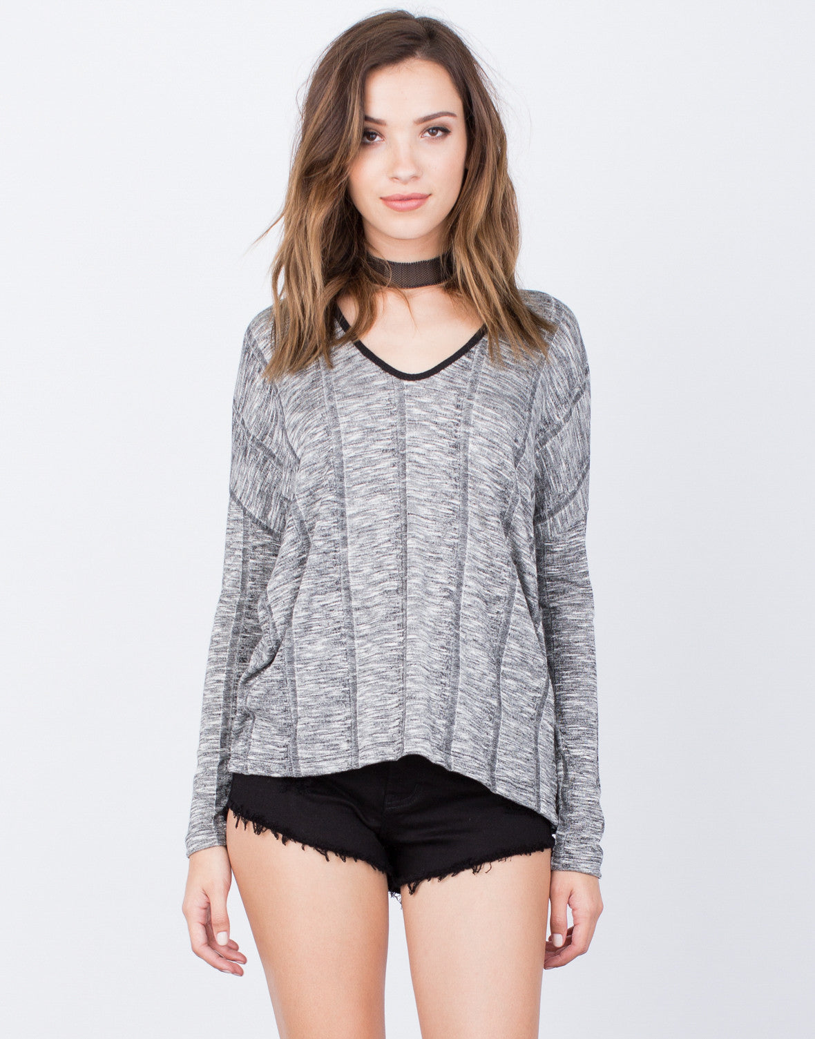Front View of L/S Rib Knit Top