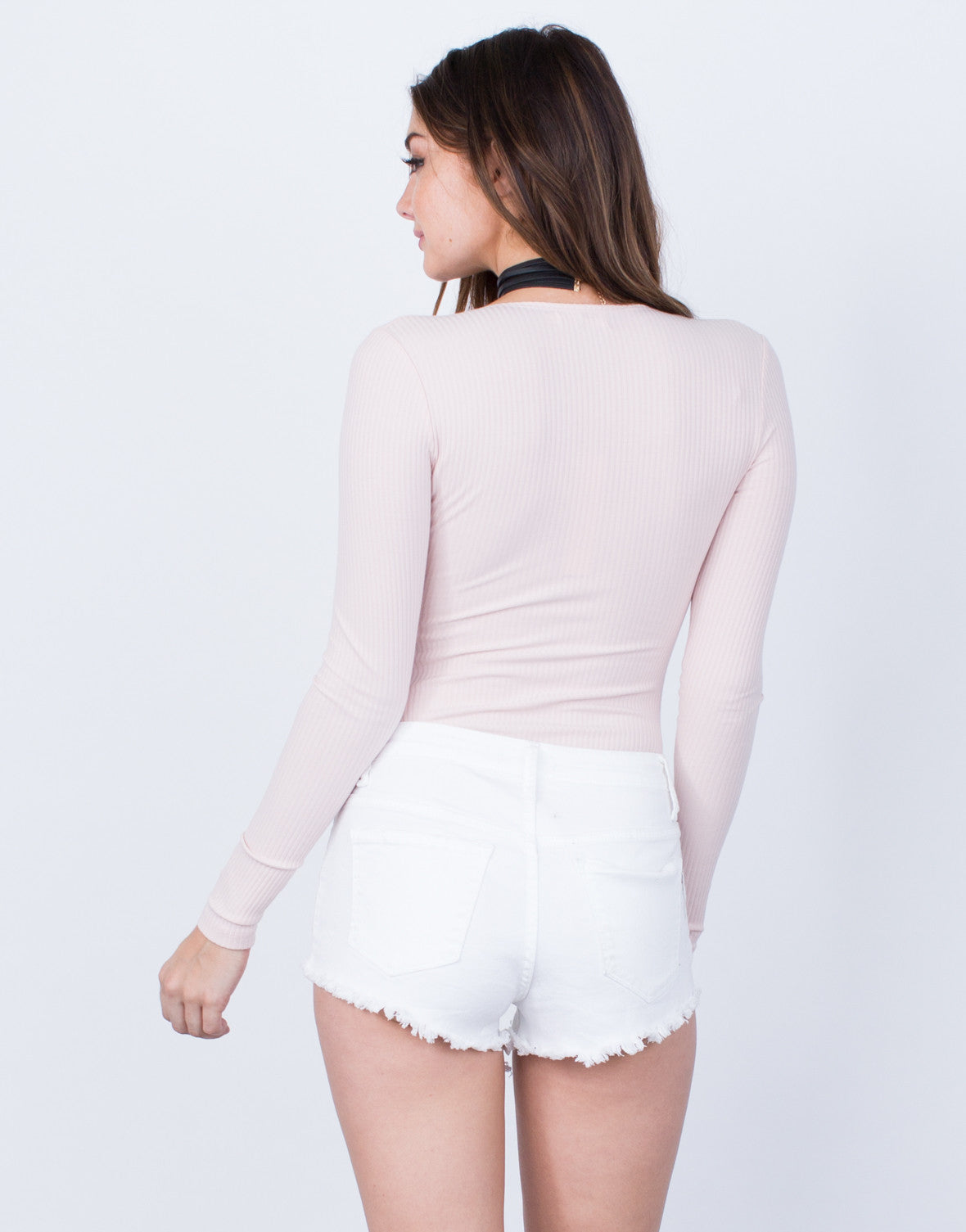 Back View of L/S Ribbed Bodysuit