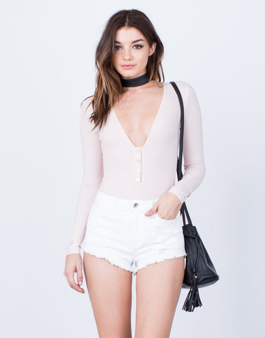 Front View of L/S Ribbed Bodysuit
