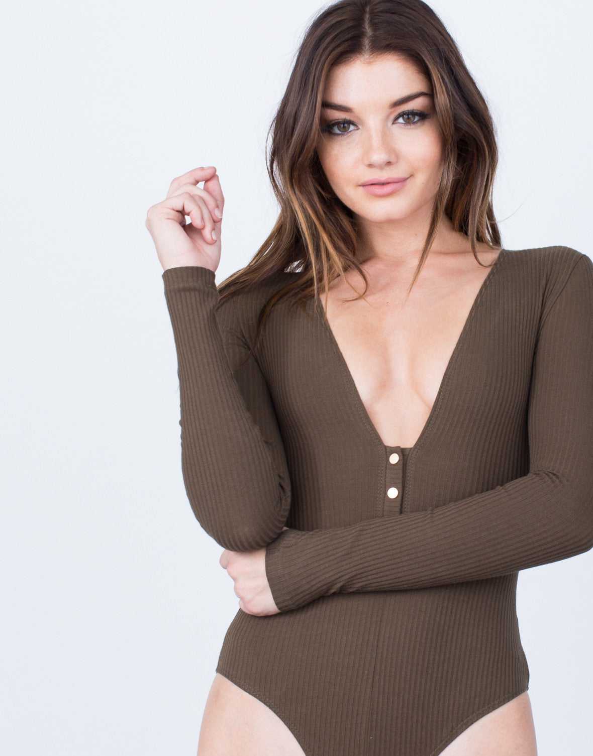 Detail of L/S Ribbed Bodysuit