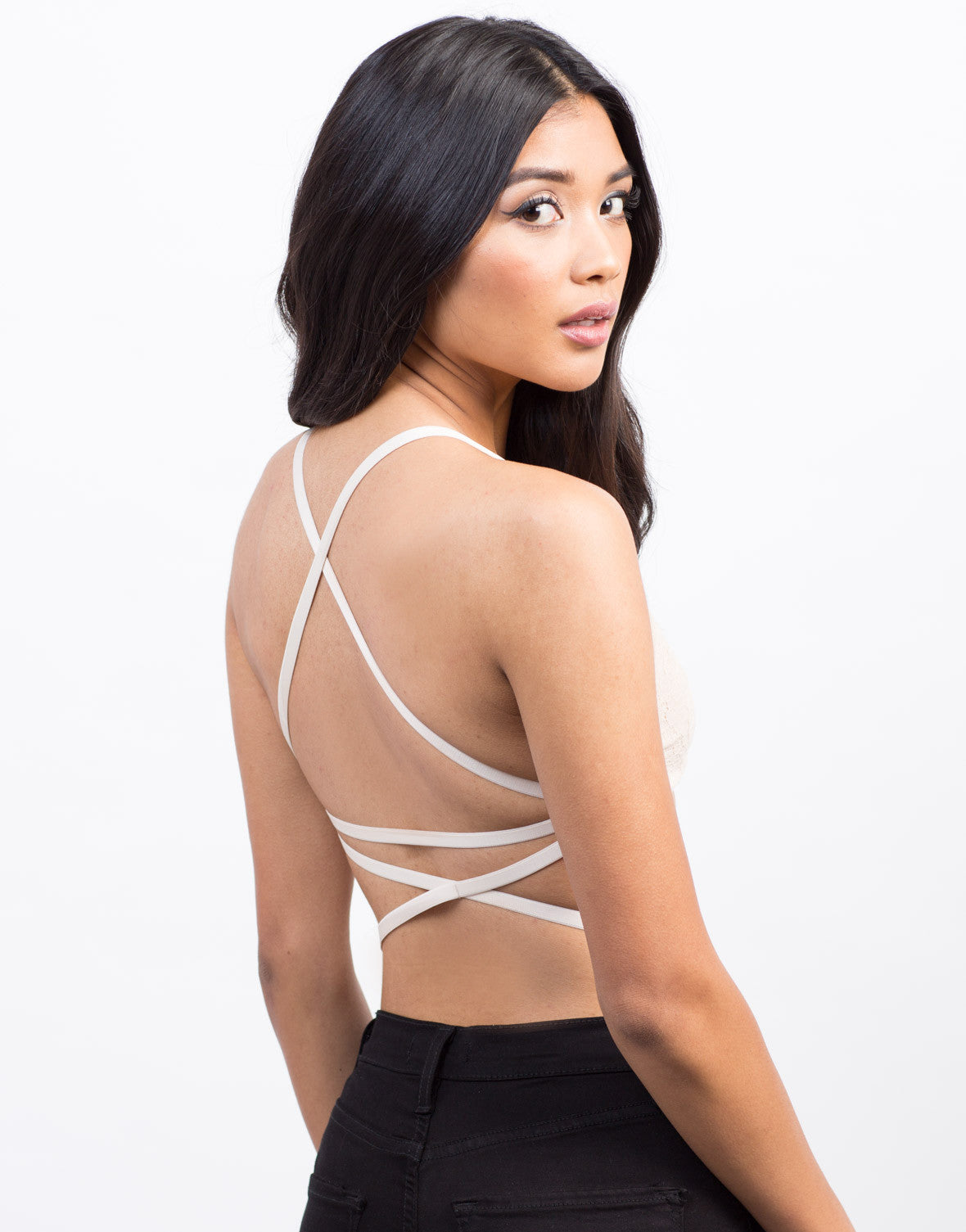 Back View of Lace and Straps Bralette