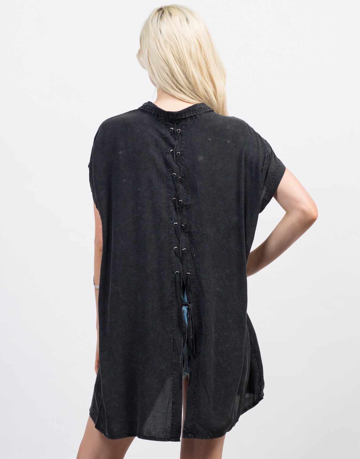 Back View of Lace Back Oversized Tee