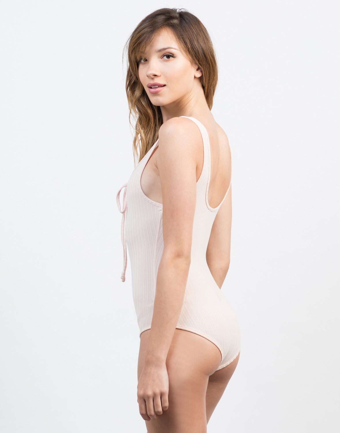 Back View of Lace Me Up Bodysuit