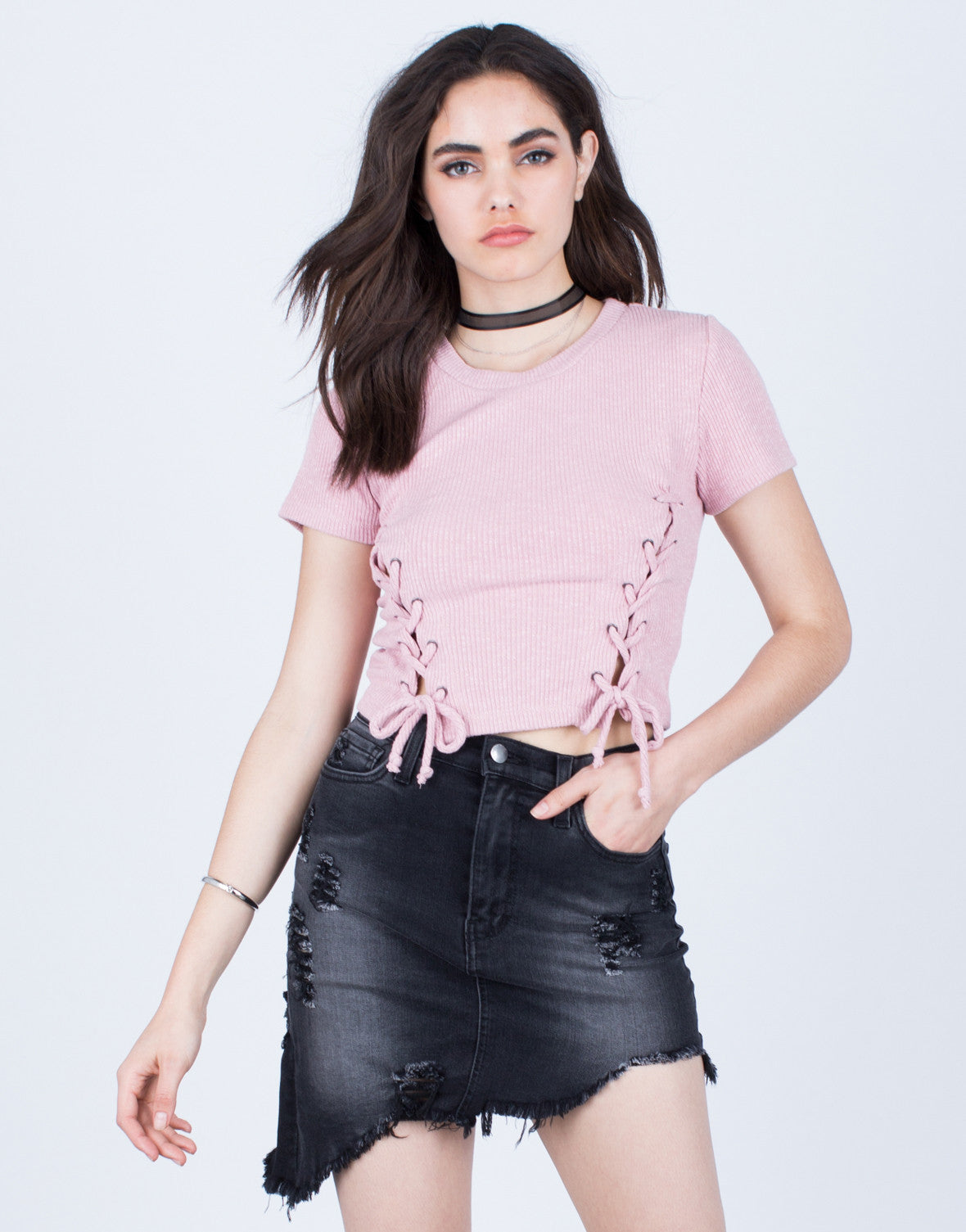 Lace Me Up Cropped Tee
