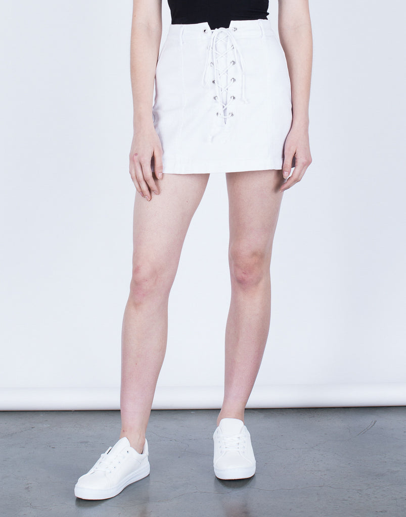 Lace Me Up Denim Skirt - 2020AVE