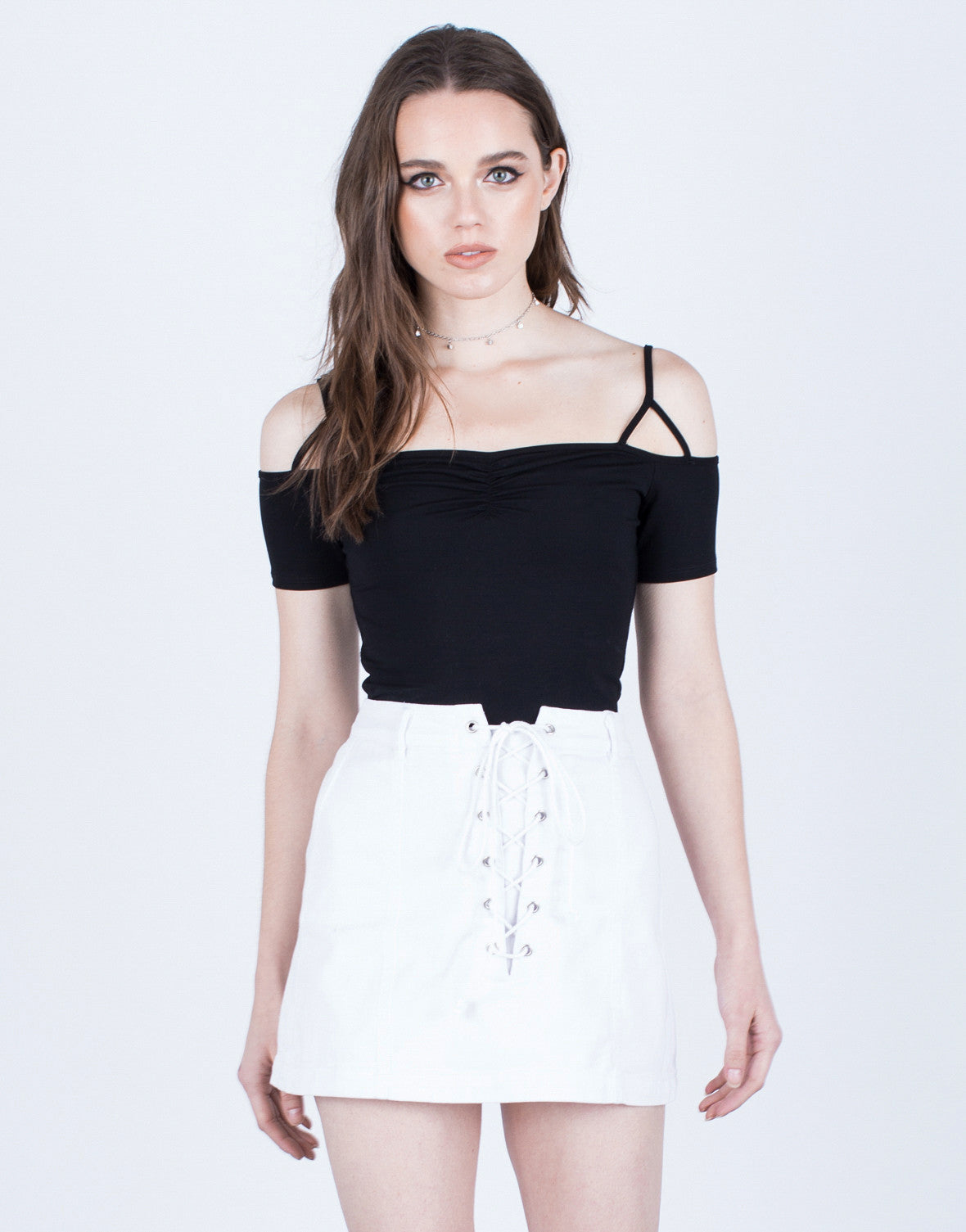Lace Me Up Denim Skirt