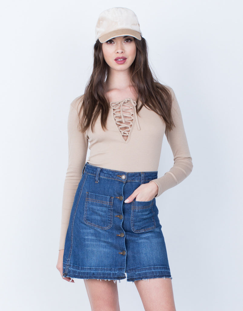 Front View of Lace Me Up Knit Top