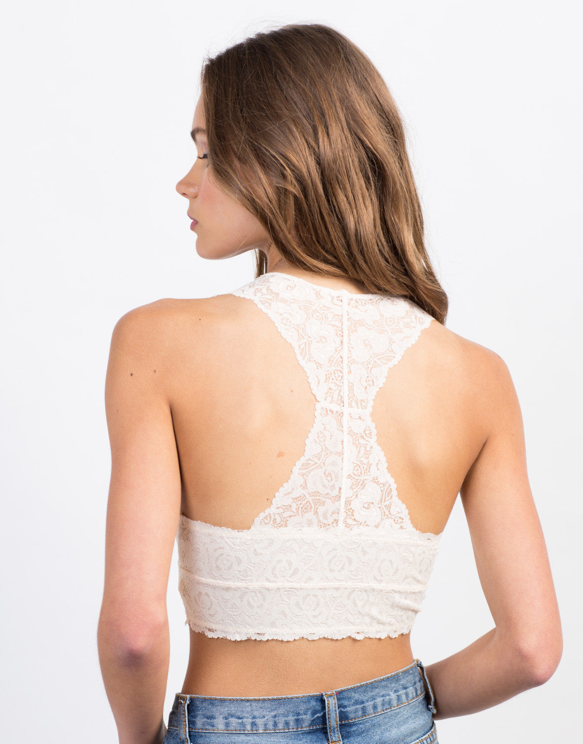 Back View of Lace Mesh Bralette