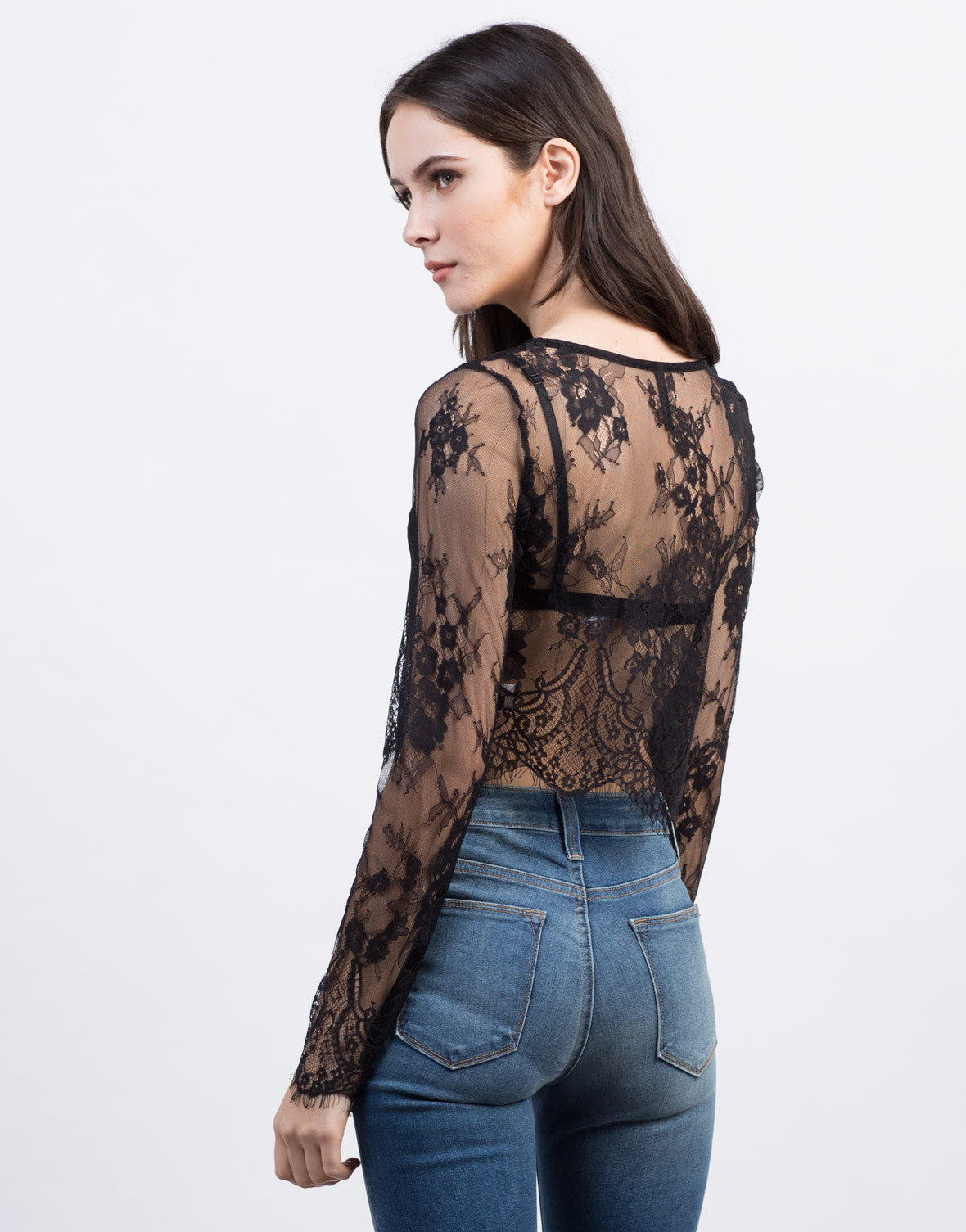 Back View of Lace Mesh L/S Crop Top