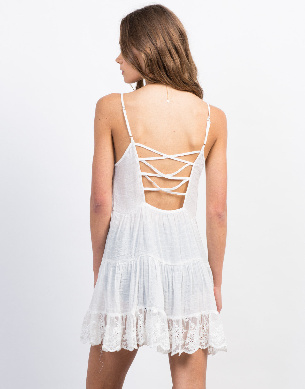 Back View of Lace Trim Babydoll Dress