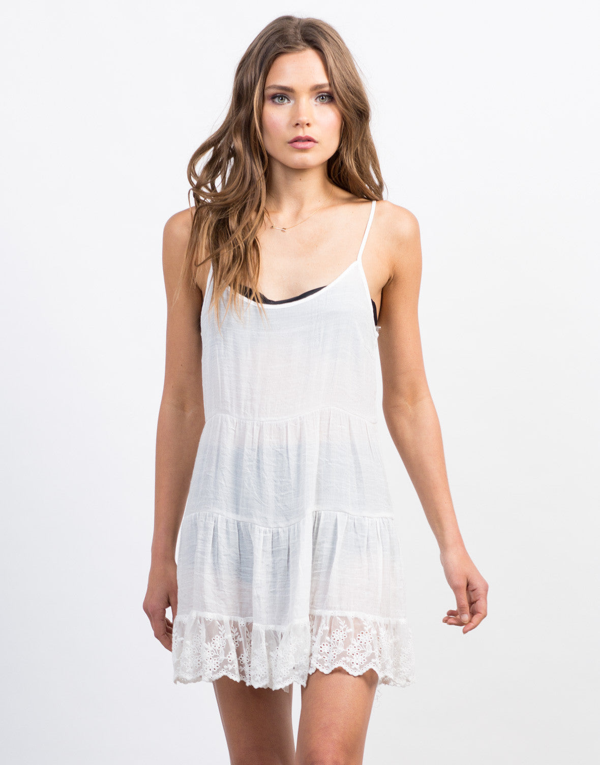 Front View of Lace Trim Babydoll Dress