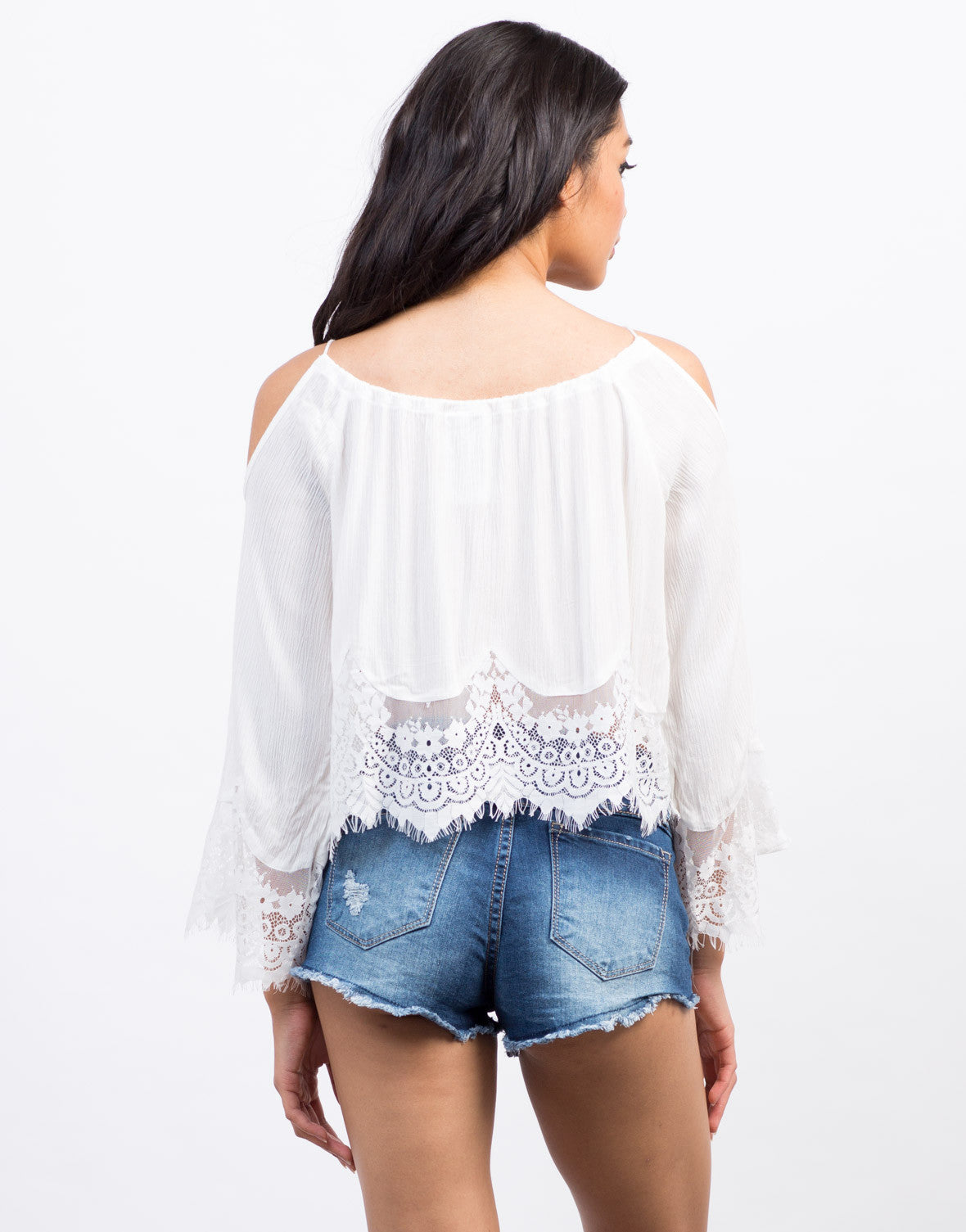 Back View of Lace Trim Cold Shoulder Top