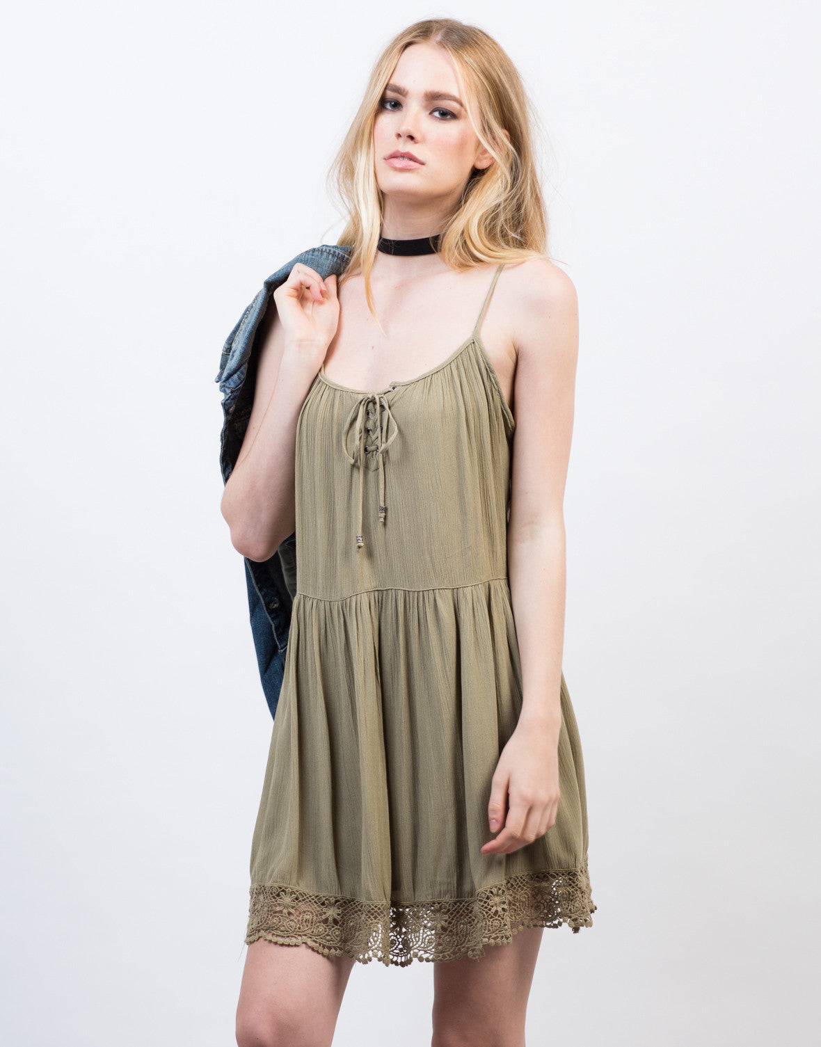 Front View of Lace-Up Babydoll Dress