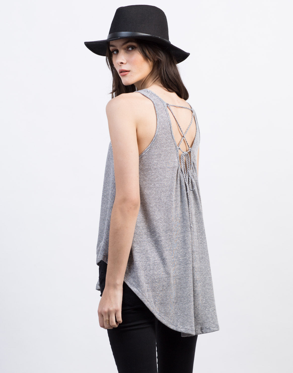 Back View of Lace-Up Back Flowy Top