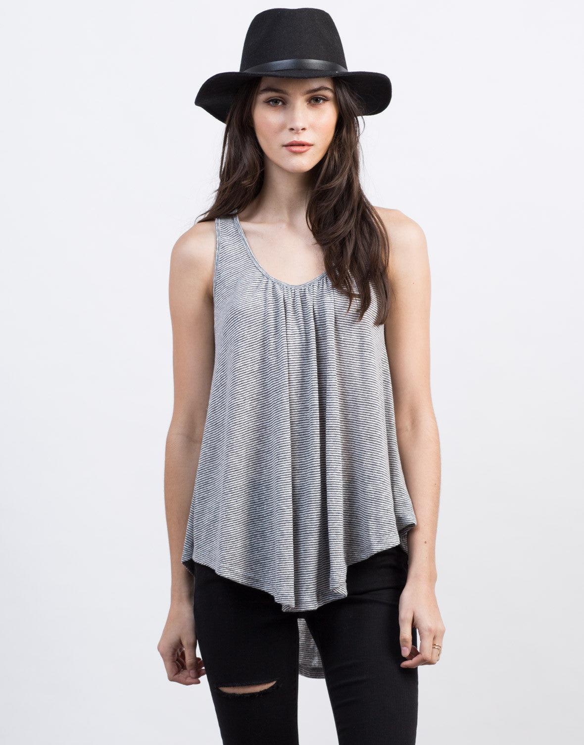 Front View of Lace-Up Back Flowy Top