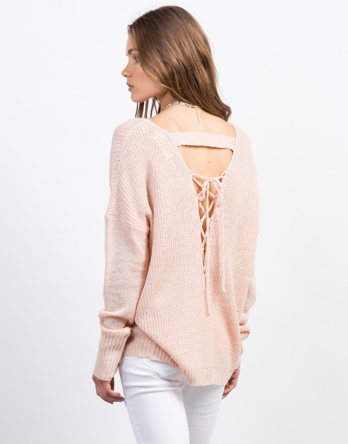 Back View of Lace-Up Back Knit Sweater