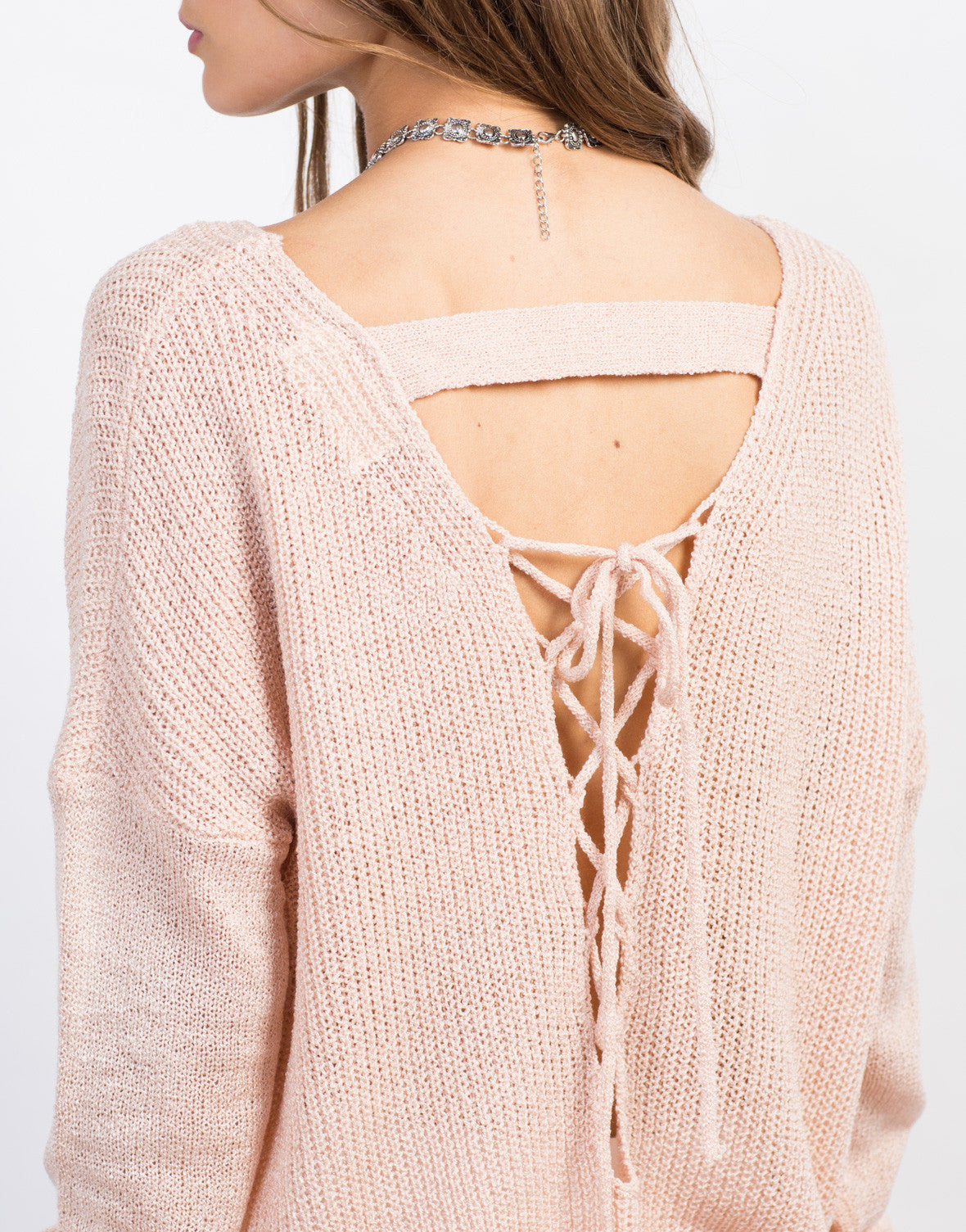Detail of Lace-Up Back Knit Sweater