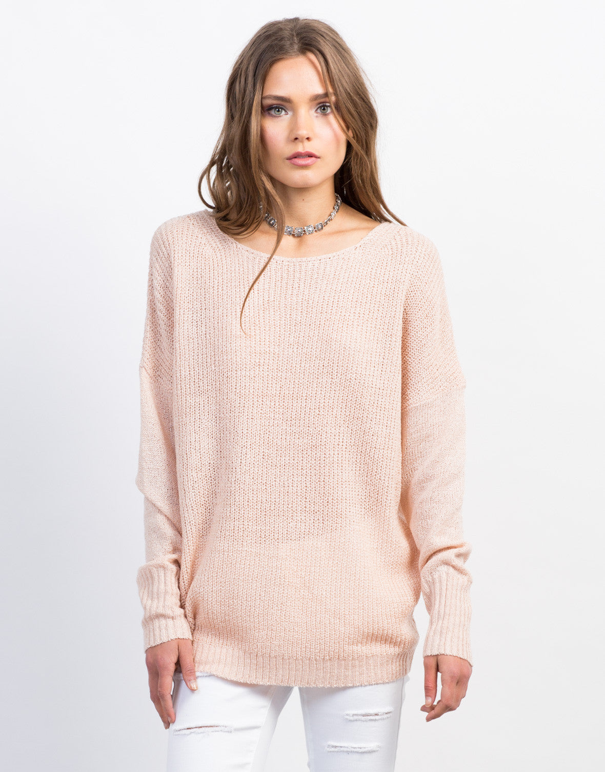 Front View of Lace-Up Back Knit Sweater