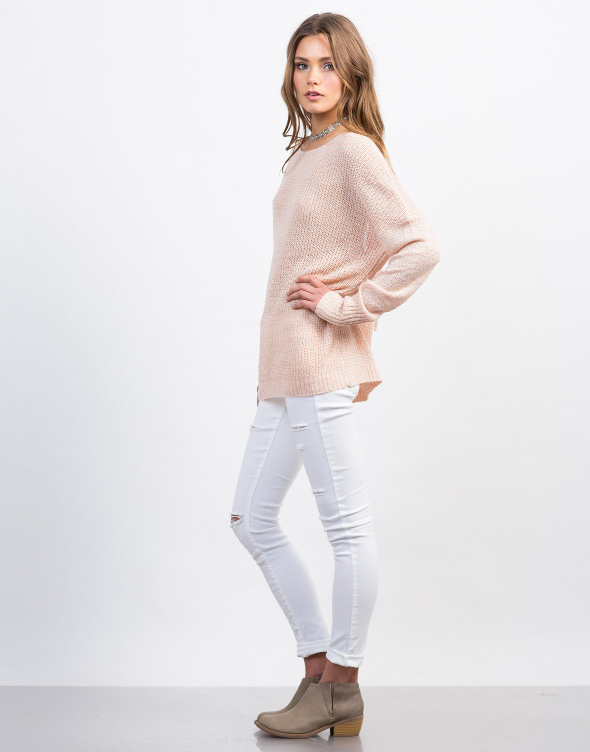 Side View of Lace-Up Back Knit Sweater