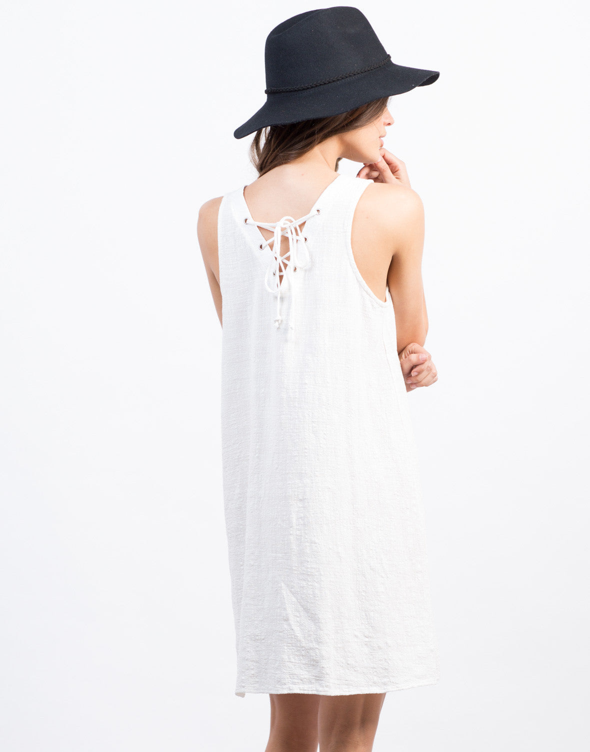Back View of Lace Up Back Swing Dress
