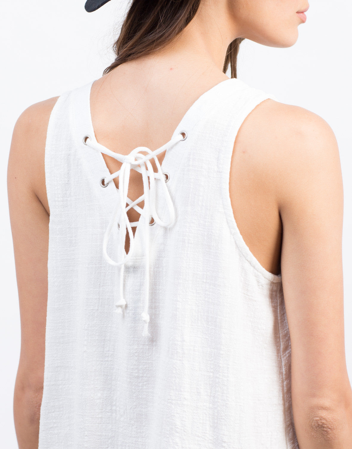 Detail of Lace Up Back Swing Dress