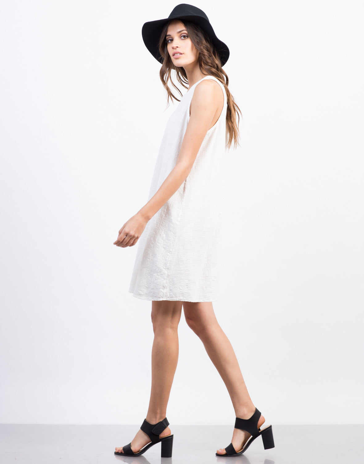 Side View of Lace Up Back Swing Dress