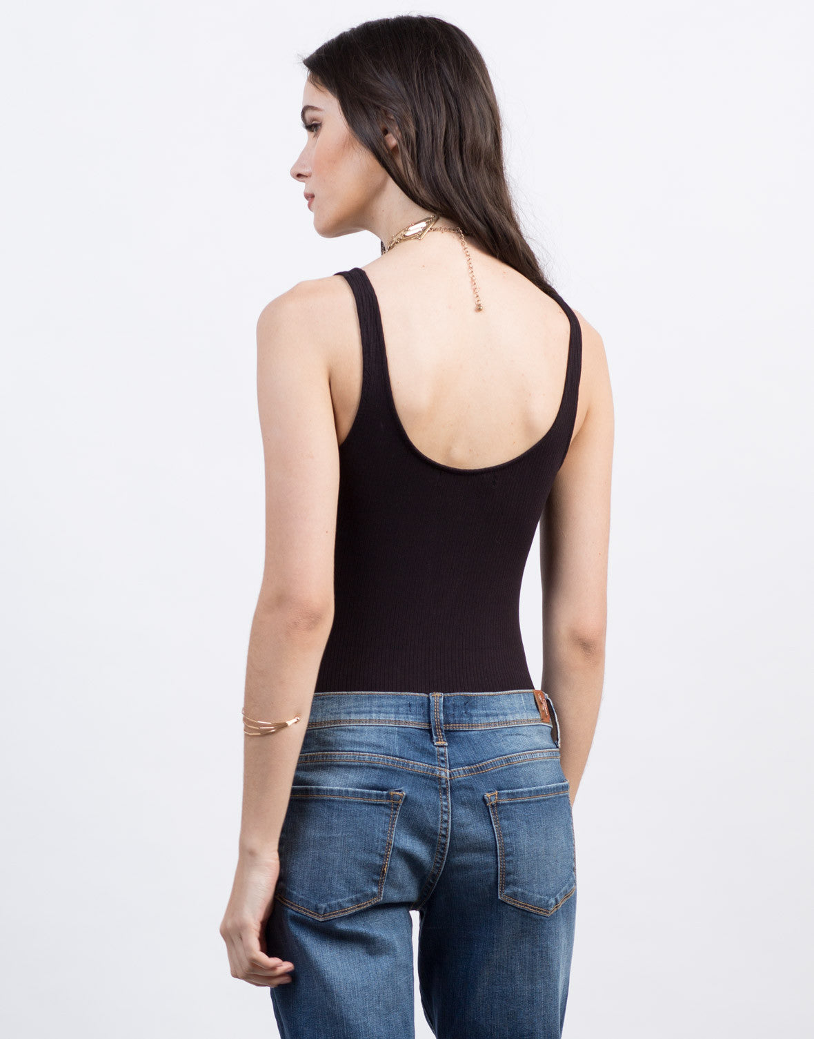 Back View of Lace-Up Ballerina Bodysuit