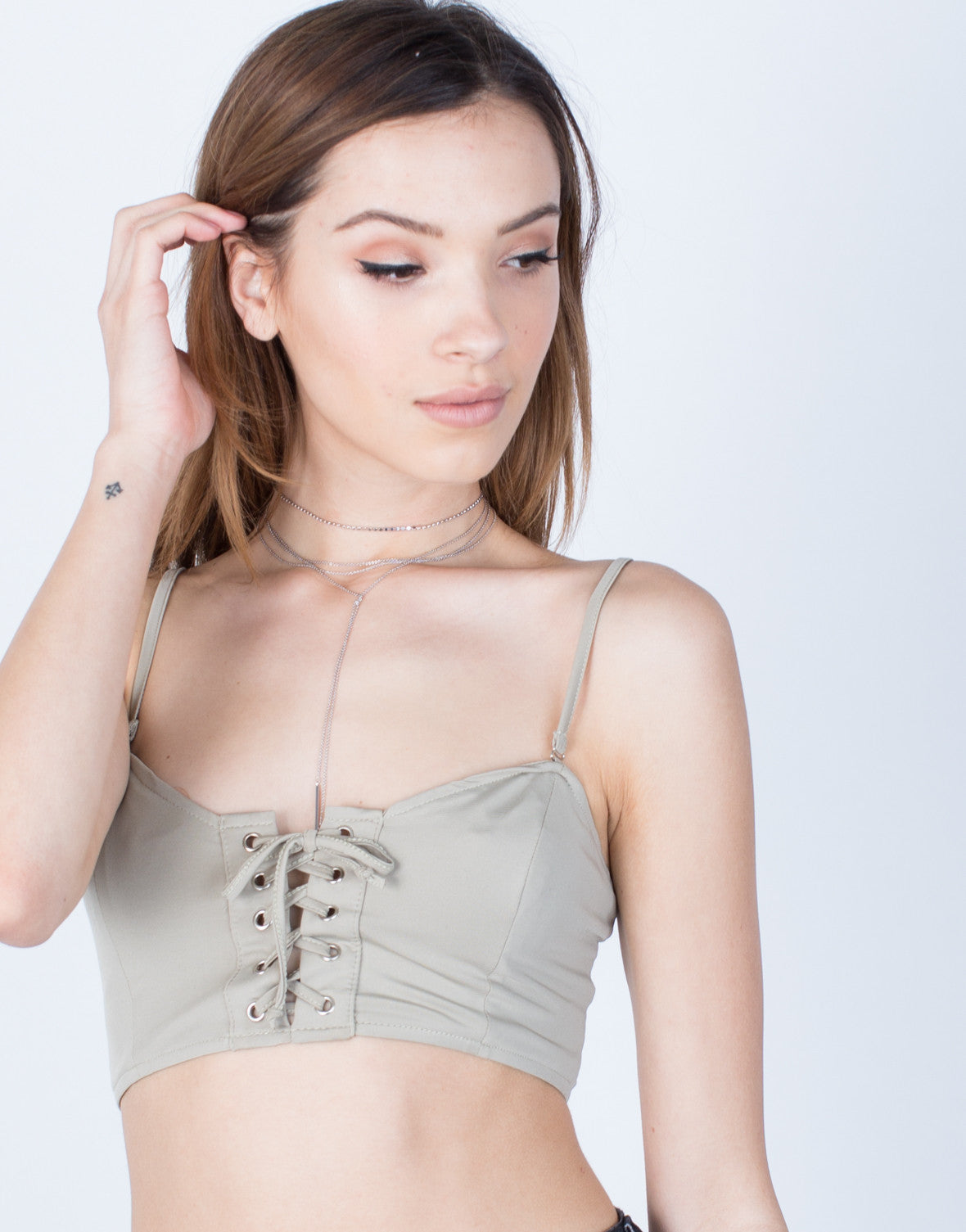 Detail of Lace-Up Bralette Top