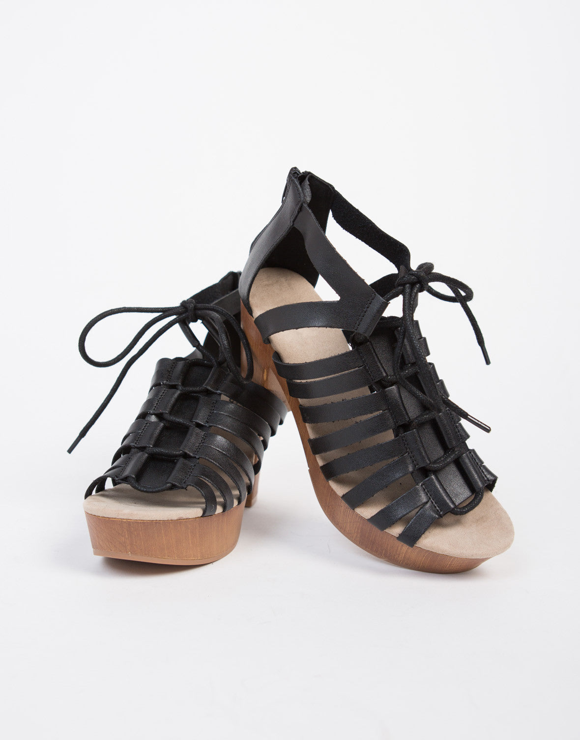 Lace-Up Caged Sandal Heels