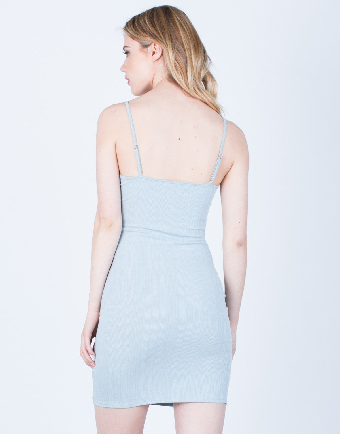 Back View of Lace-Up Cami Dress