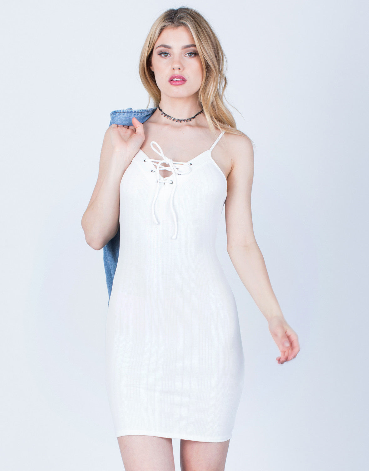 Front View of Lace-Up Cami Dress
