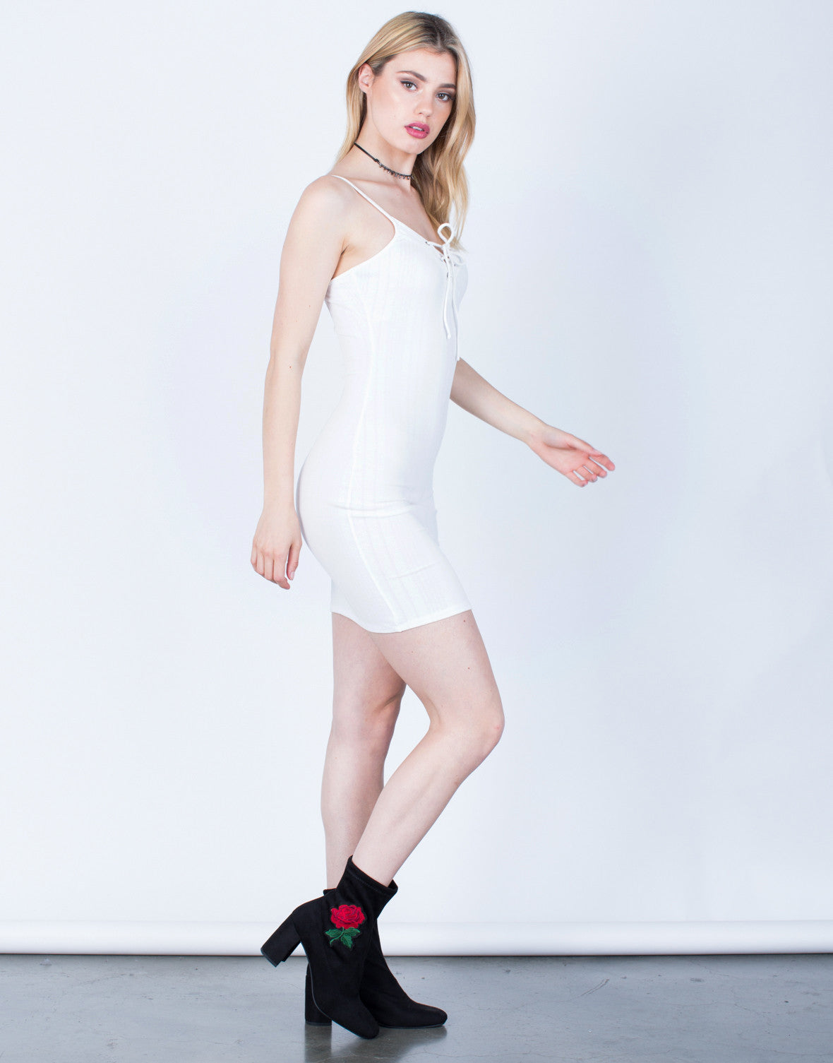 Side View of Lace-Up Cami Dress