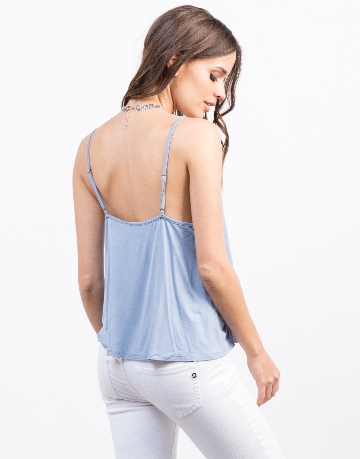 Back View of Lace-Up Cami Top