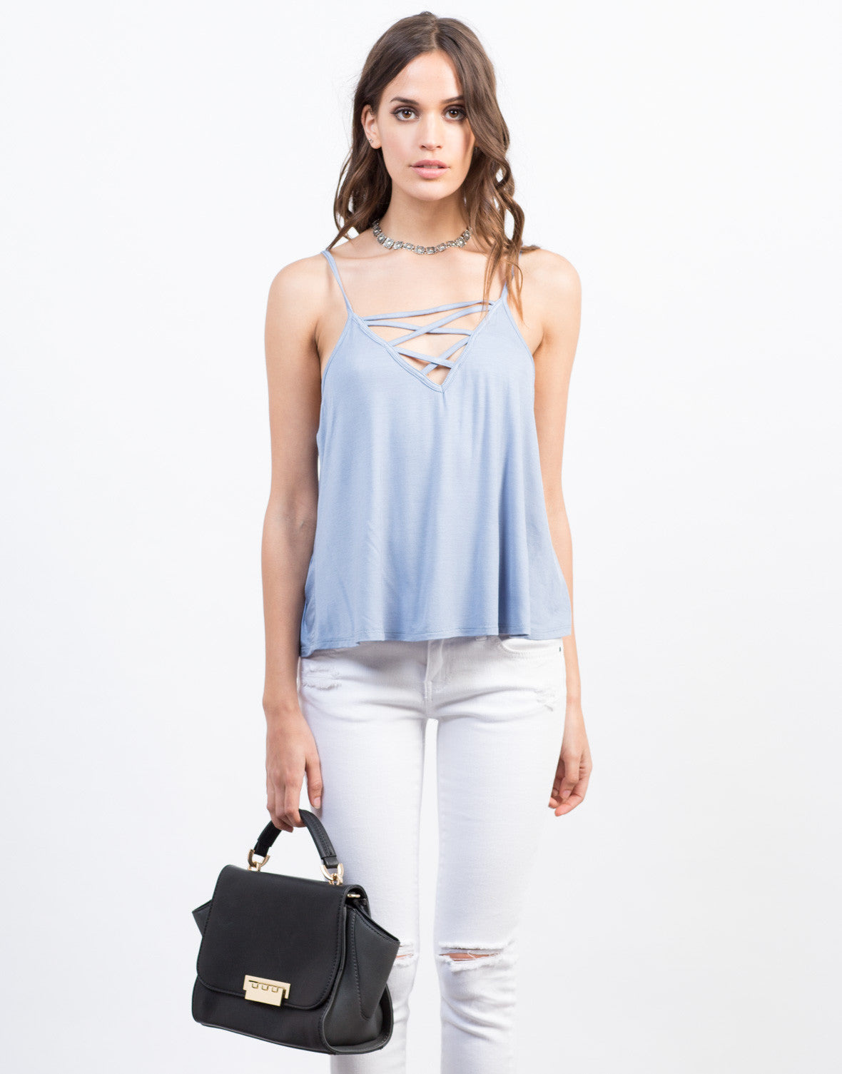 Front View of Lace-Up Cami Top
