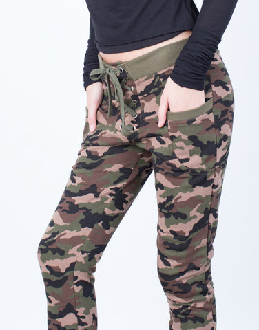 Detail of Lace-Up Camo Joggers