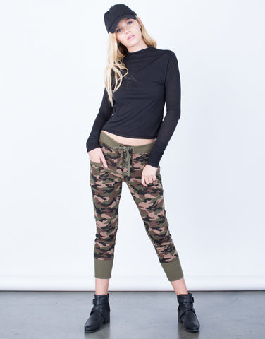 Front View of Lace-Up Camo Joggers